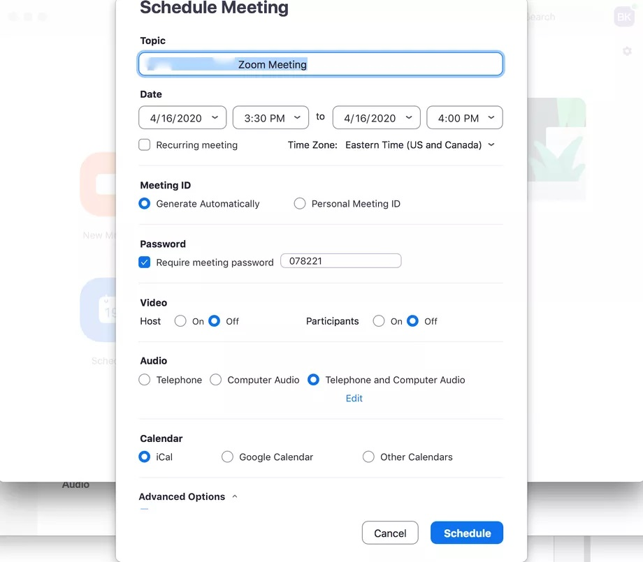 Scheduling meeting in Zoom app