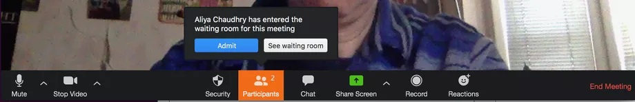 Virtual waiting room in Zoom app