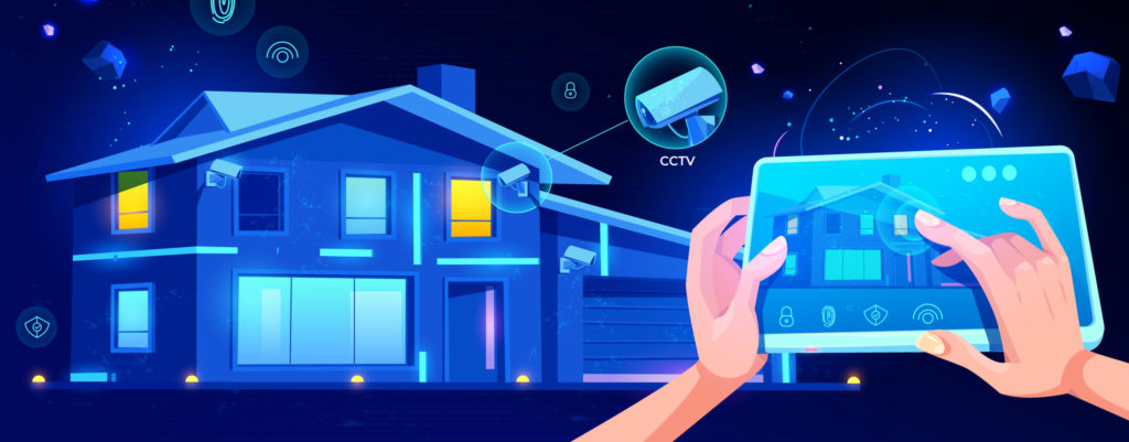 Smart house remote control cartoon vector concept