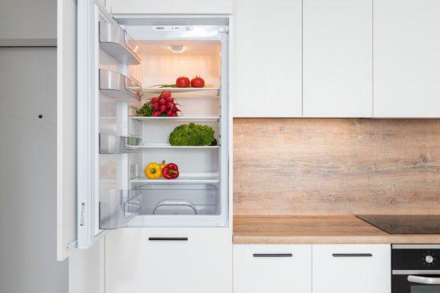 An open white fridge.