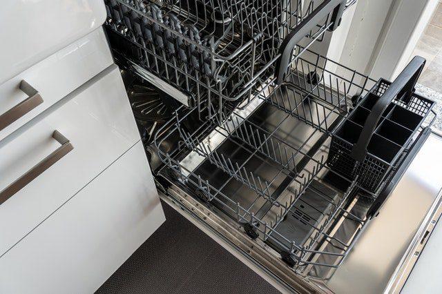 An open dishwasher.