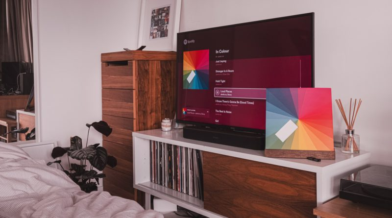 A television in bedroom wall